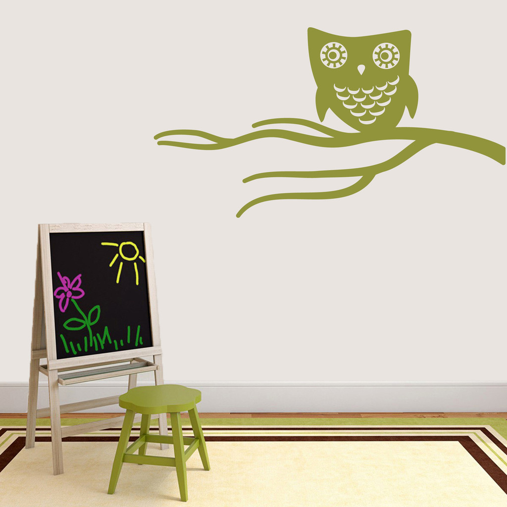 """Cute Owl On Branch Wall Decal 48"""" wide x 26"""" tall Sample Image"""