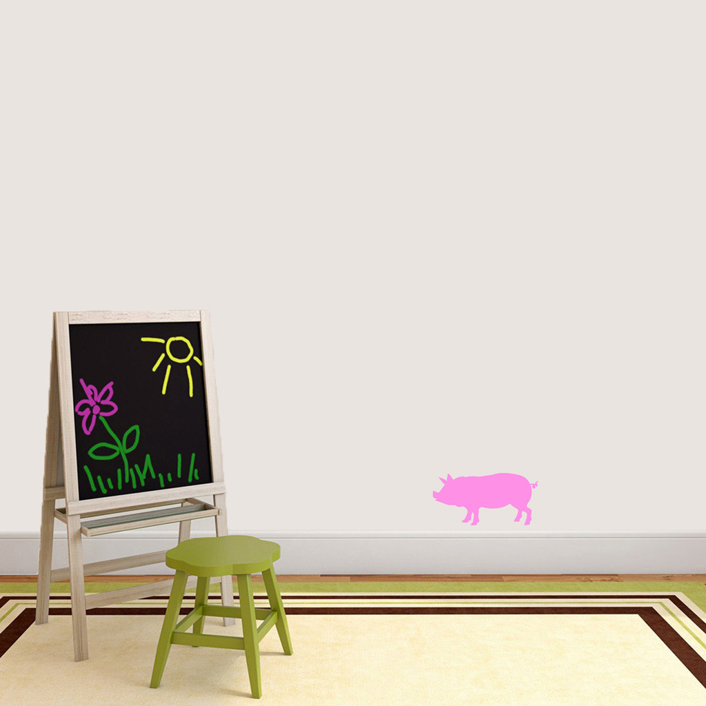 """Pig Silhouette Wall Decal 12"""" wide x 6"""" tall Sample Image"""