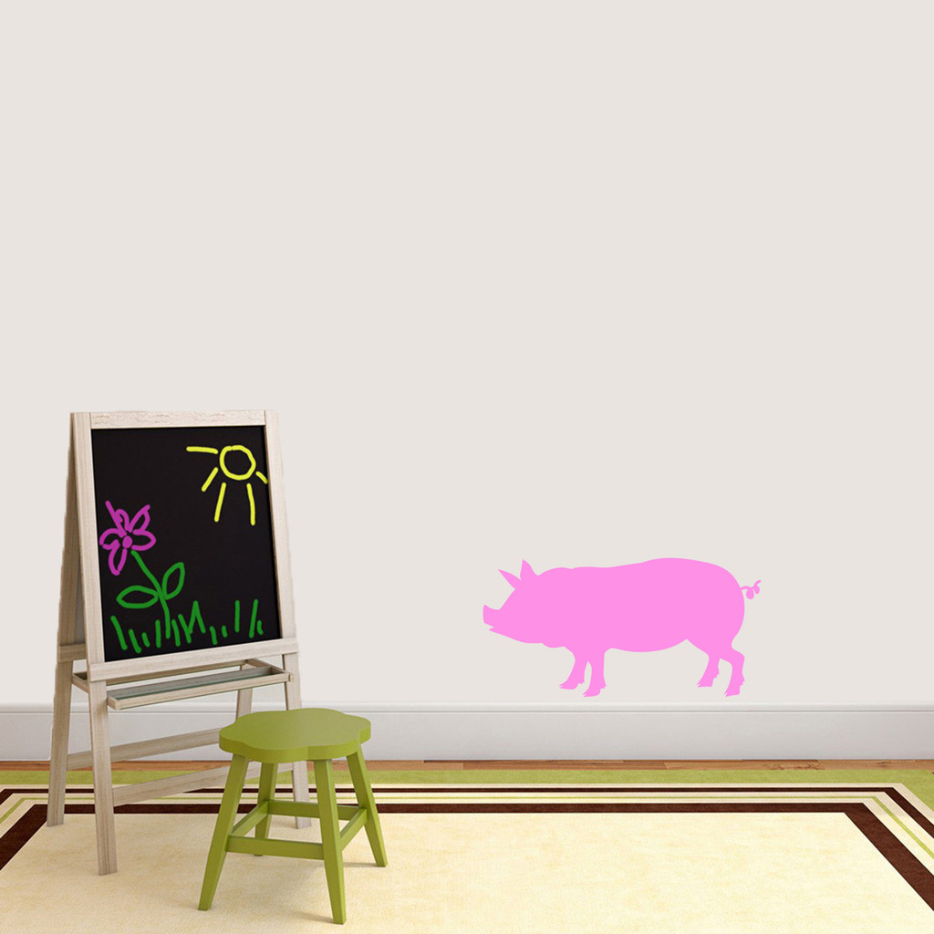 """Pig Silhouette Wall Decal 24"""" wide x 12"""" tall Sample Image"""