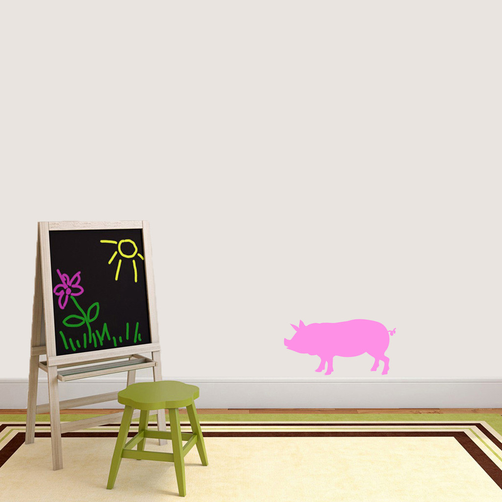 """Pig Silhouette Wall Decal 18"""" wide x 9"""" tall Sample Image"""
