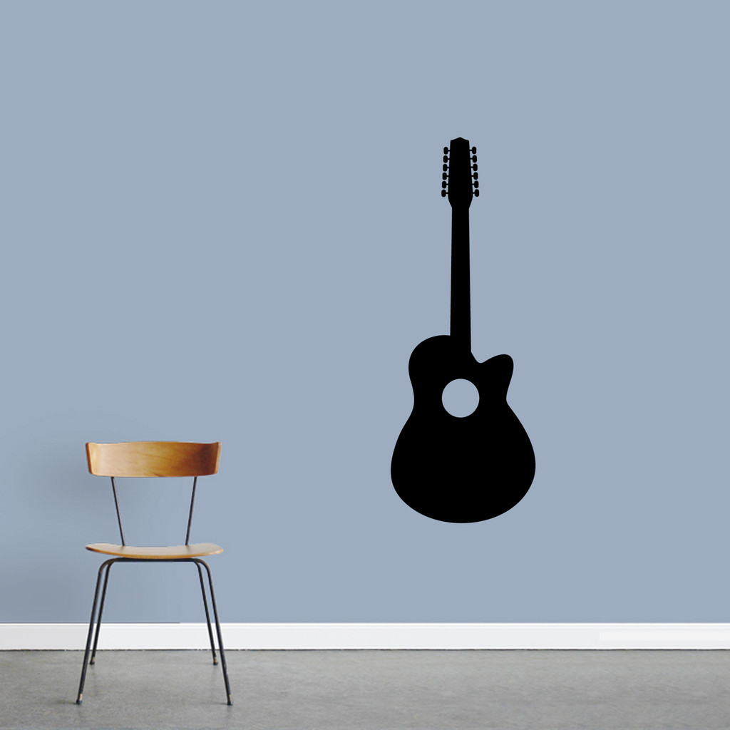 "Classic Guitar Wall Decal 18"" wide x 48"" tall Sample Image"