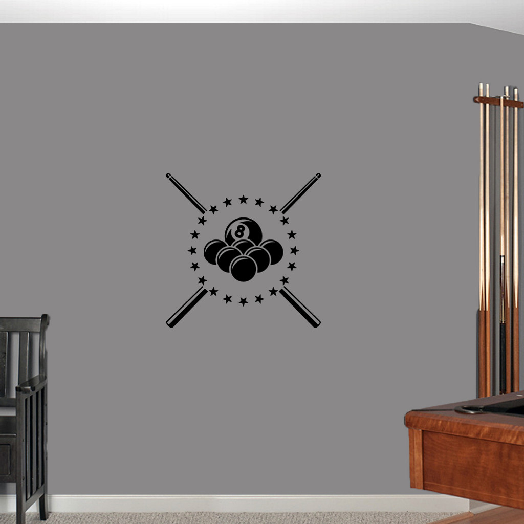 "Pool Billiards Wall Decals 22"" wide x 22"" tall Sample Image"