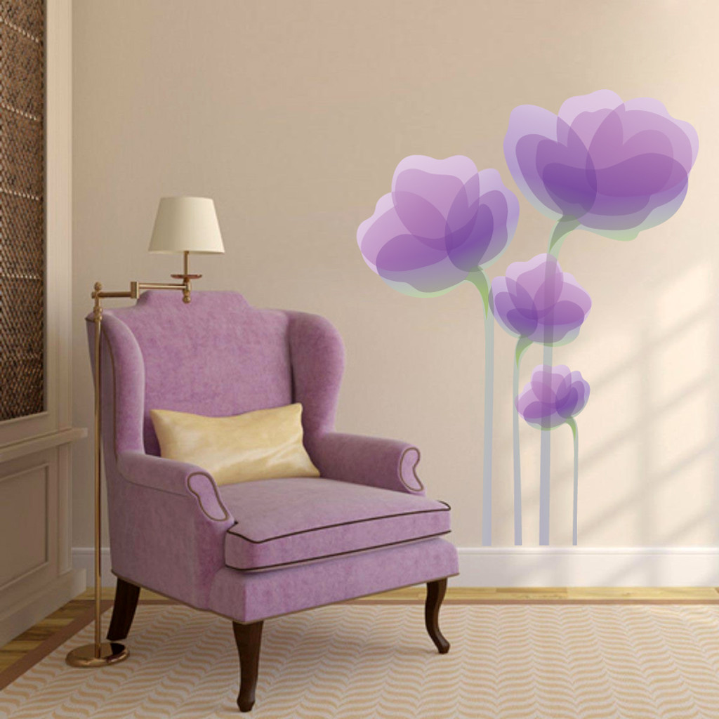 "Purple Flowers Printed Wall Decals 36"" wide x 48"" tall Sample Image"
