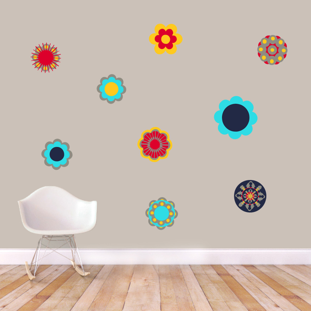 Retro Flowers Printed Wall Decals and Stickers