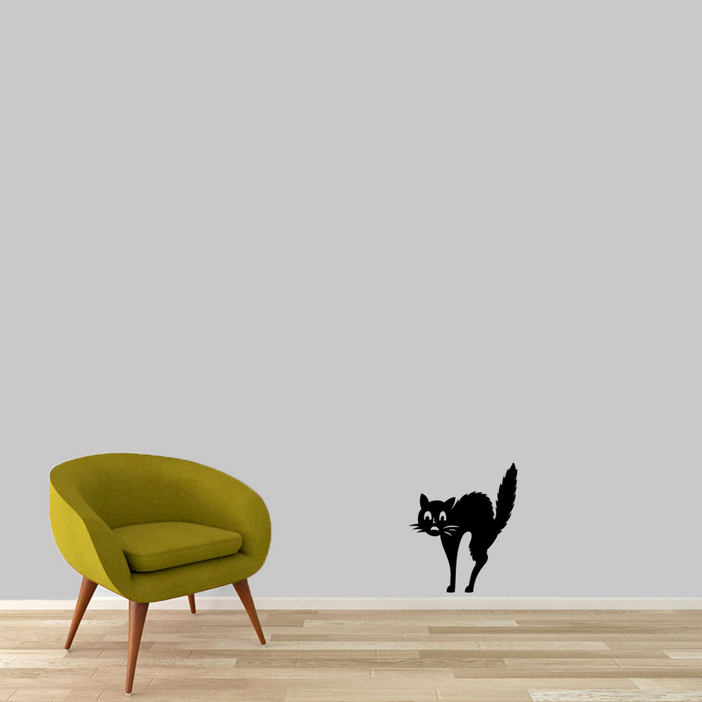"Scaredy-Cat Wall Decal 15"" wide x 18"" tall Sample Image"