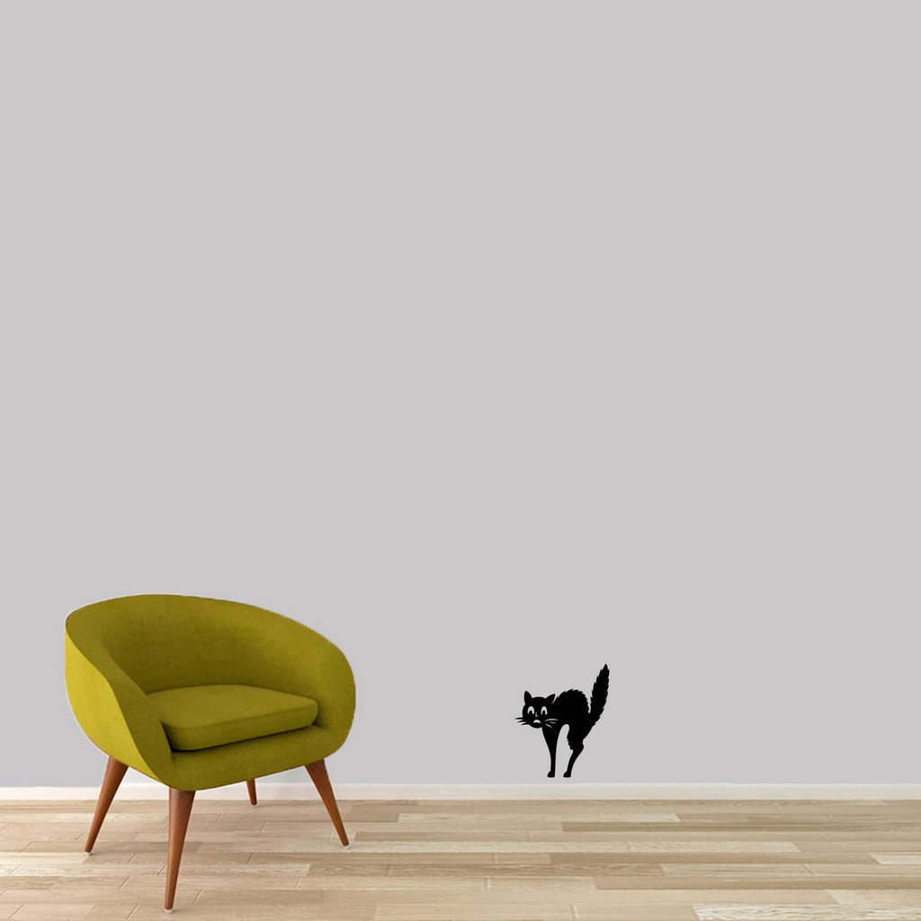 "Scaredy-Cat Wall Decal 10"" wide x 12"" tall Sample Image"