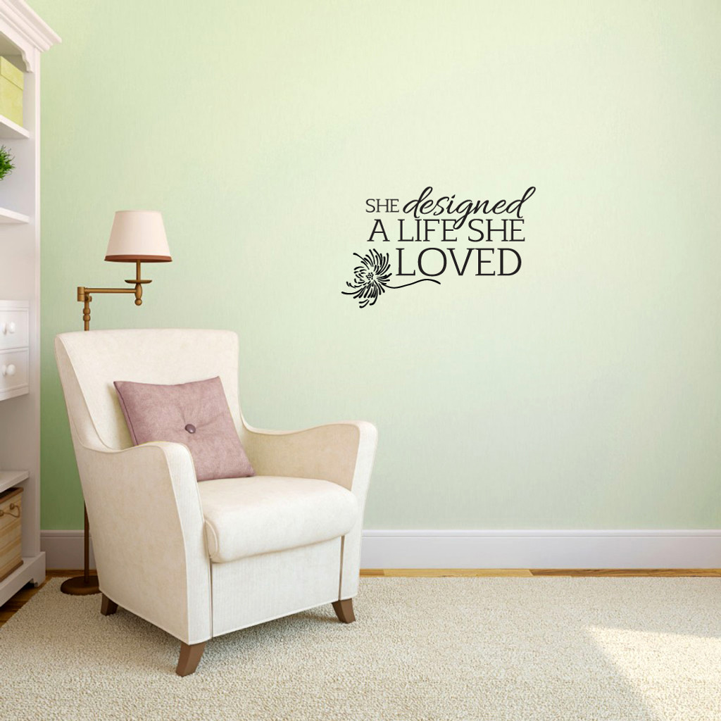 "A Life She Loved Wall Decals 24"" wide x 15"" tall Sample Image"
