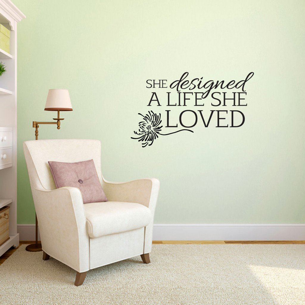 "A Life She Loved Wall Decals 36"" wide x 22"" tall Sample Image"