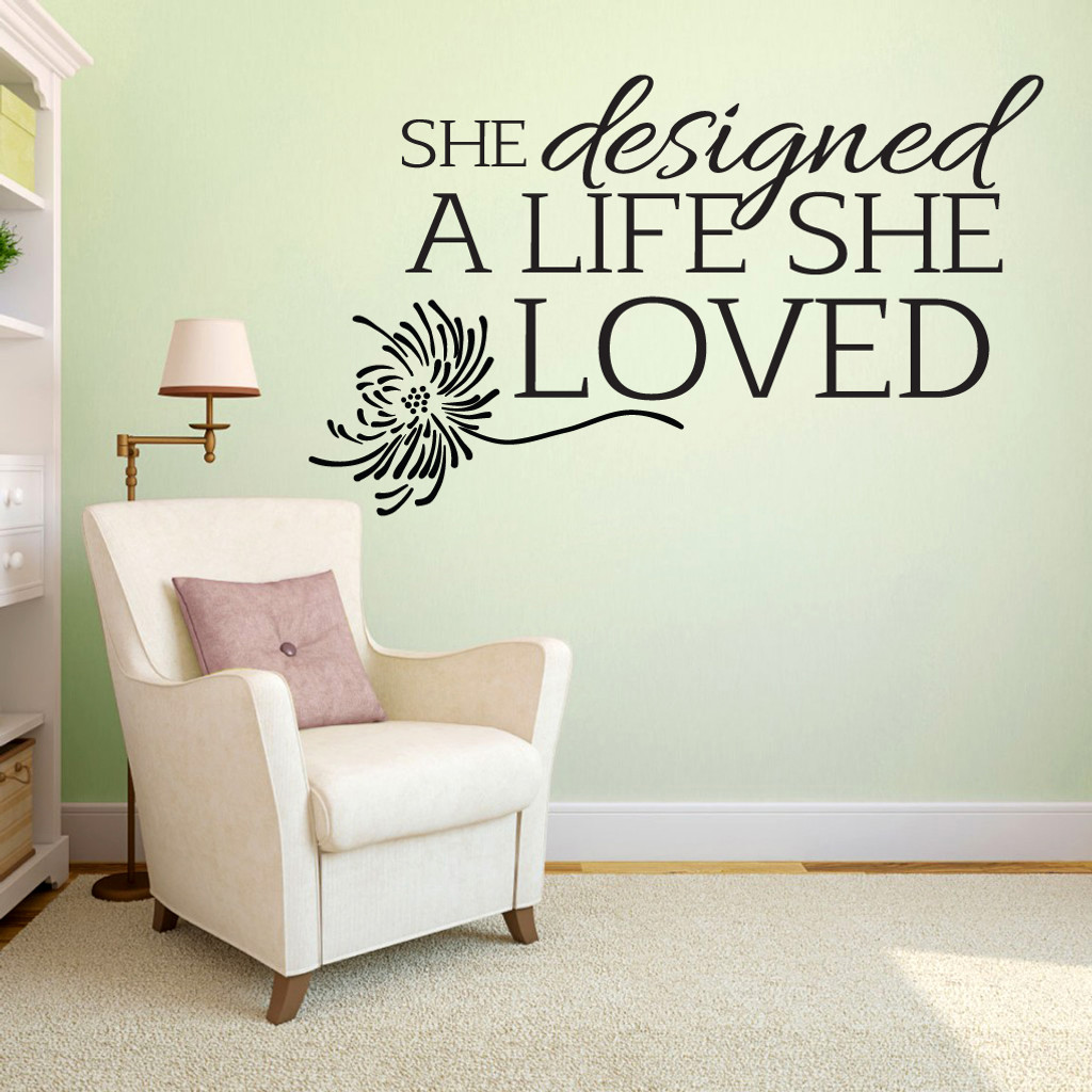 "A Life She Loved Wall Decals 60"" wide x 36"" tall Sample Image"