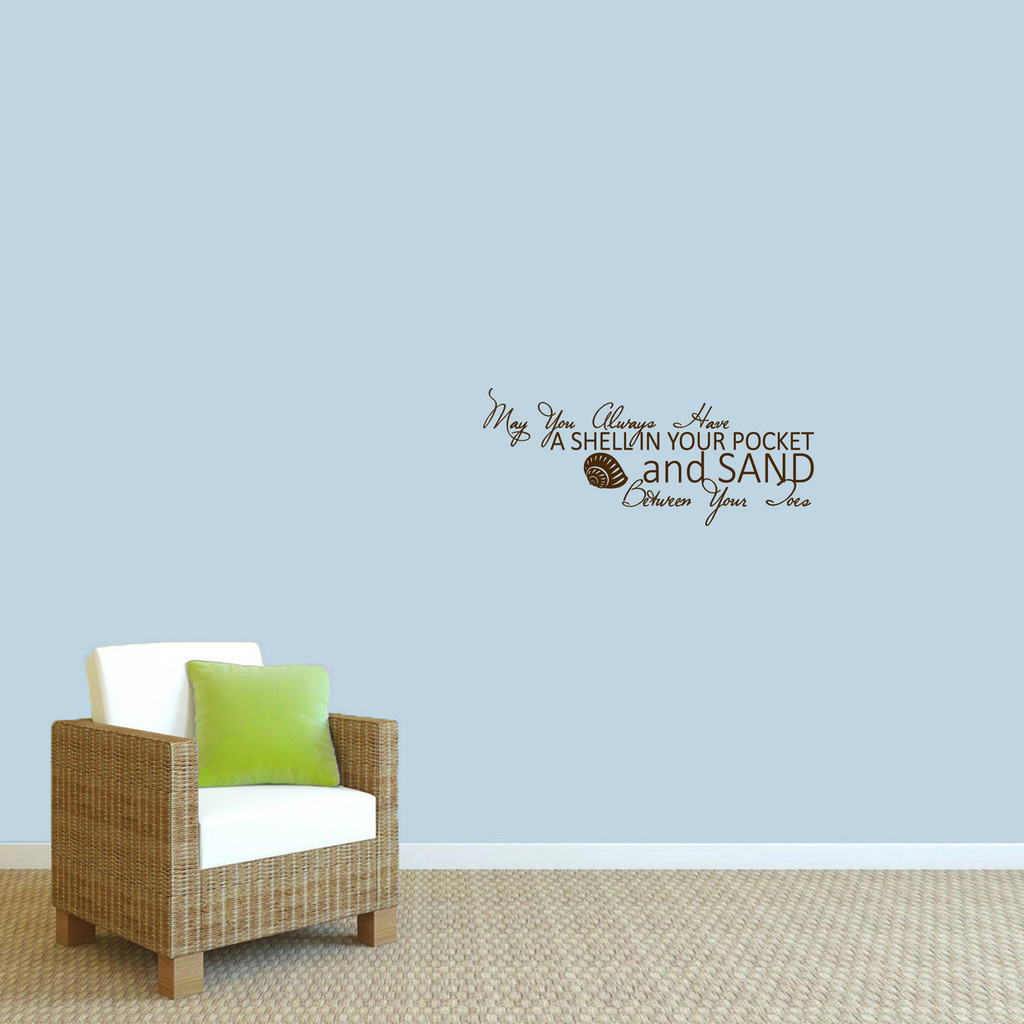 "A Shell In Your Pocket Wall Decal 24"" wide x 10"" tall Sample Image"