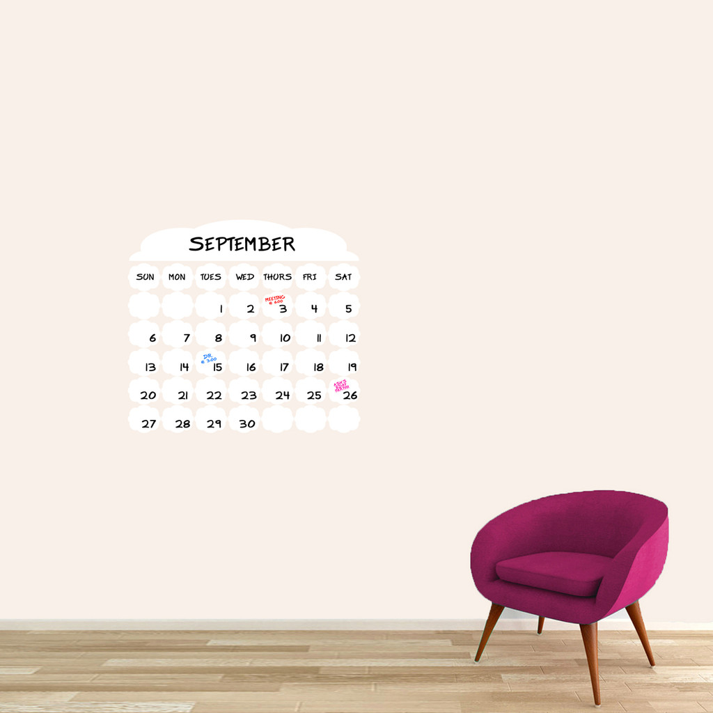 "Dry Erase Fancy Calendar Wall Decals 24"" wide x 22"" tall Sample Image (Writing Not Included With Order)"
