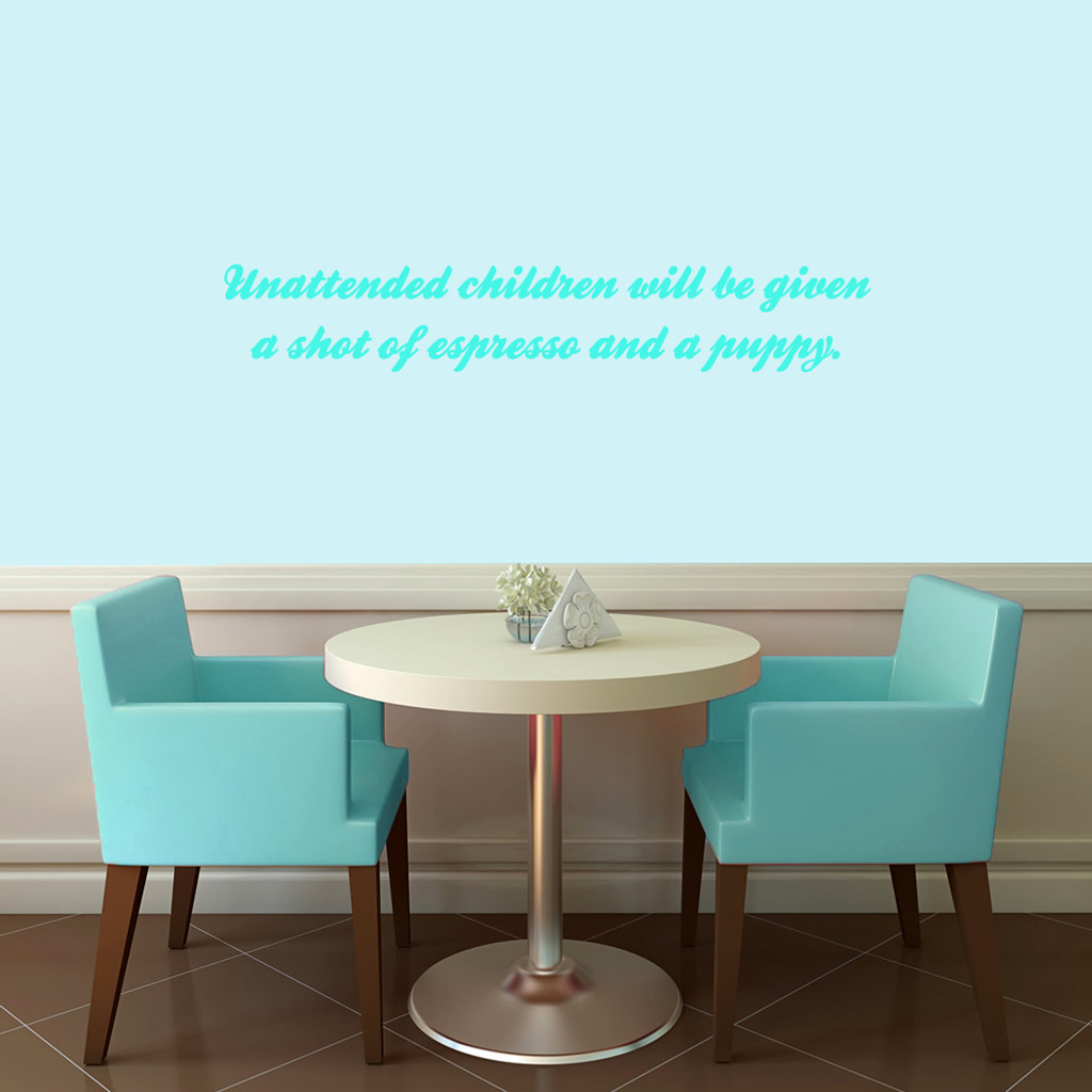"Unattended Children Wall Decals 36"" wide x 6"" tall Sample Image"