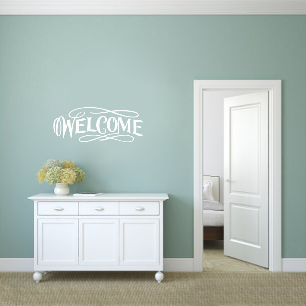 """Fancy Welcome Wall Decals 36"""" wide x 14"""" tall Sample Image"""