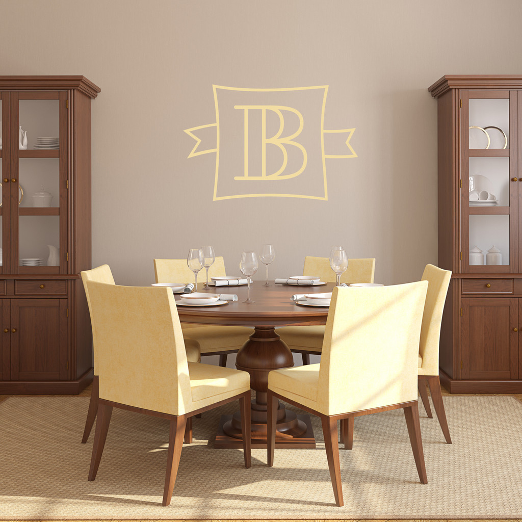 """Custom Monogram Frame With Banner Wall Decal 24"""" wide x 16"""" tall Sample Image"""