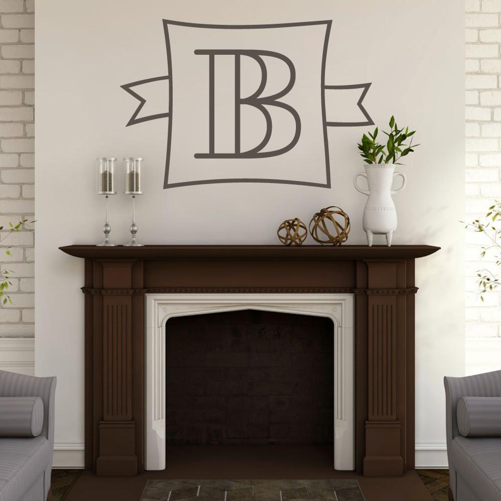 Custom Monogram Frame With Banner Wall Decal Sample Image