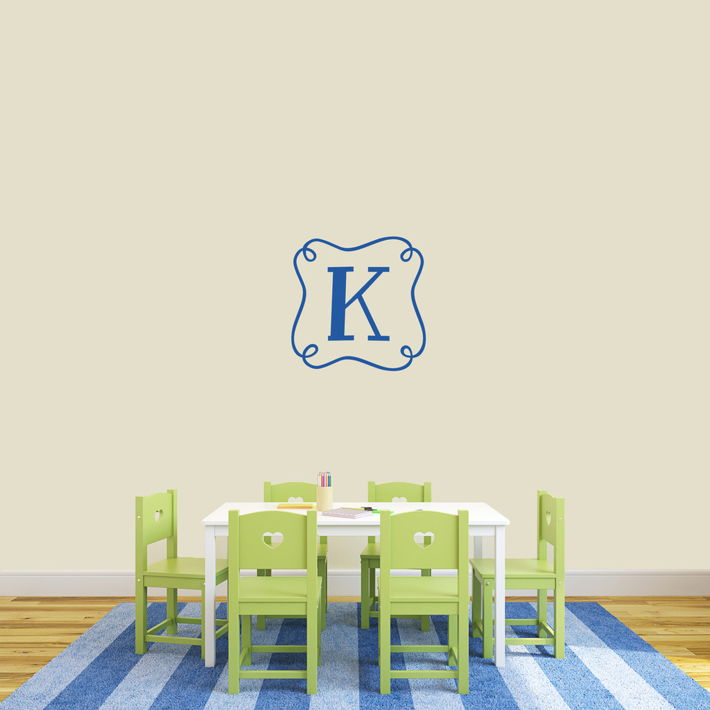 "Custom Curly Frame Monogram Wall Decal 18"" wide x 18"" tall Sample Image"