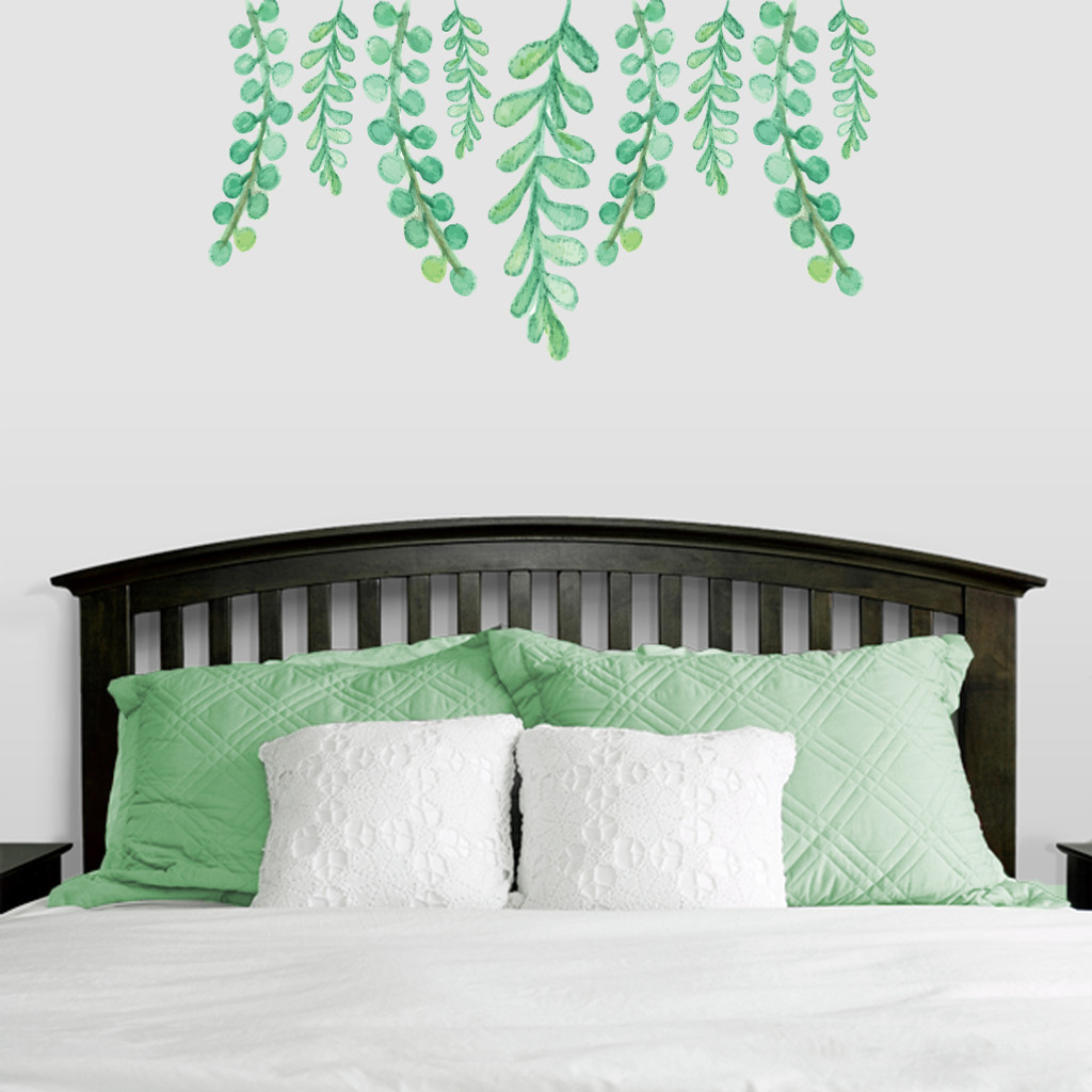 """Hanging Eucalyptus Printed Wall Decals 48"""" wide x 26"""" tall Sample Image"""