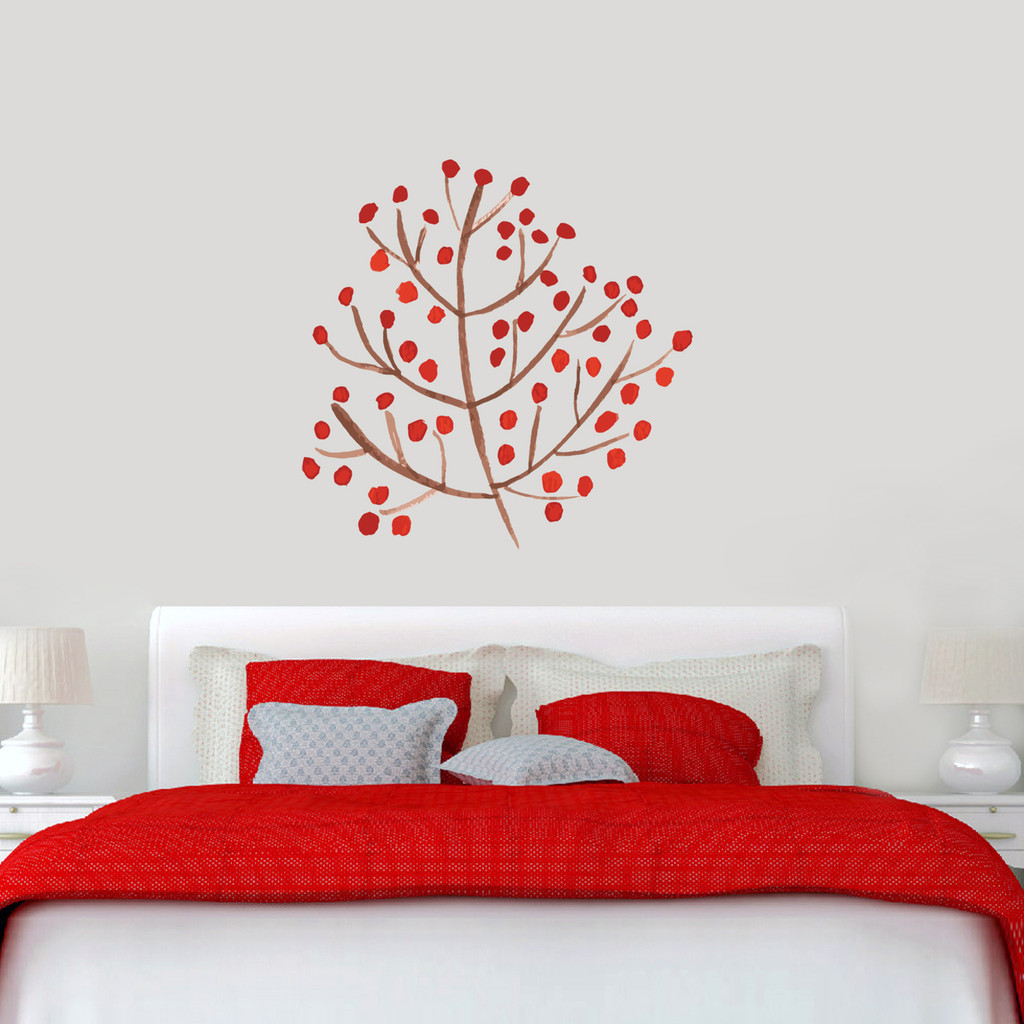"Red Berry Branch Printed Wall Decals 36"" wide x 36"" tall Sample Image"