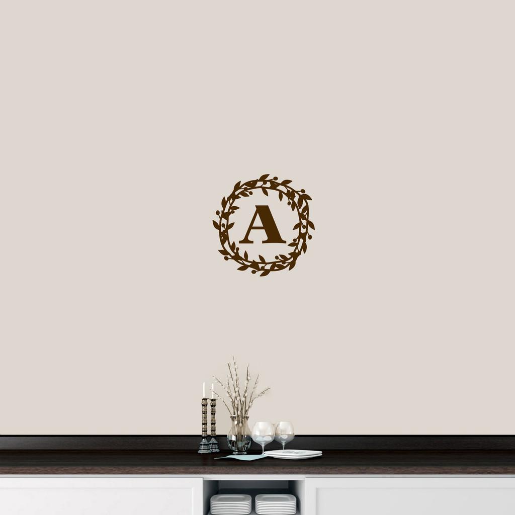 "Custom Berry Wreath Monogram Wall Decal 12"" wide x 12"" tall Sample Image"