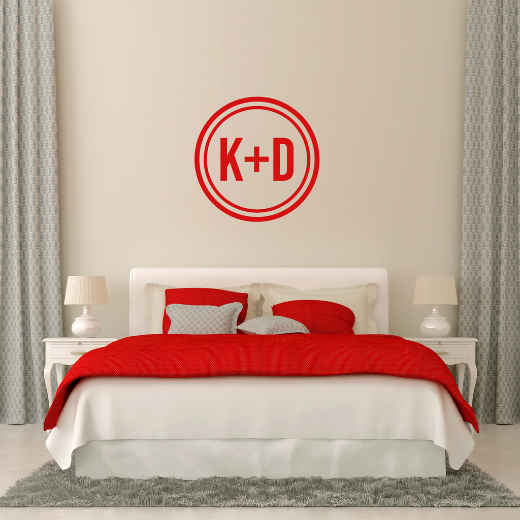 "Custom Circle Initials Wall Decal 22"" wide x 22"" tall Sample Image"