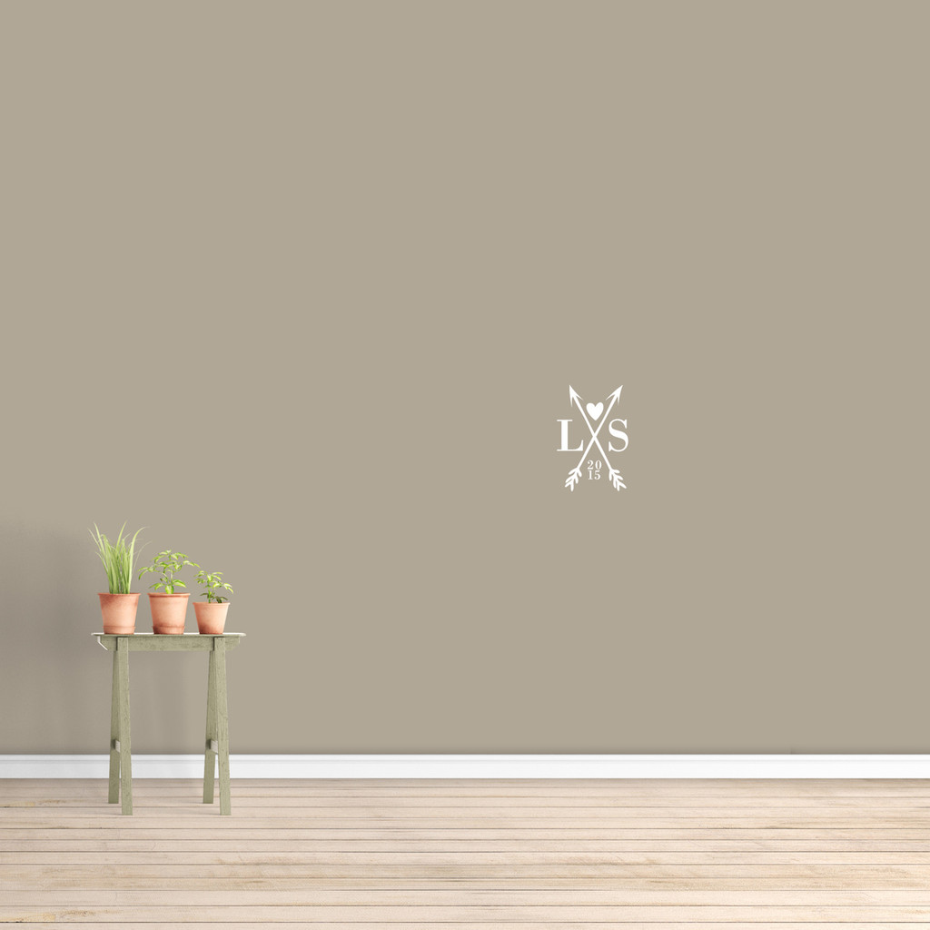 """Custom Crossed Arrows With Initials Wall Decal  8"""" wide x 12"""" tall Sample Image"""