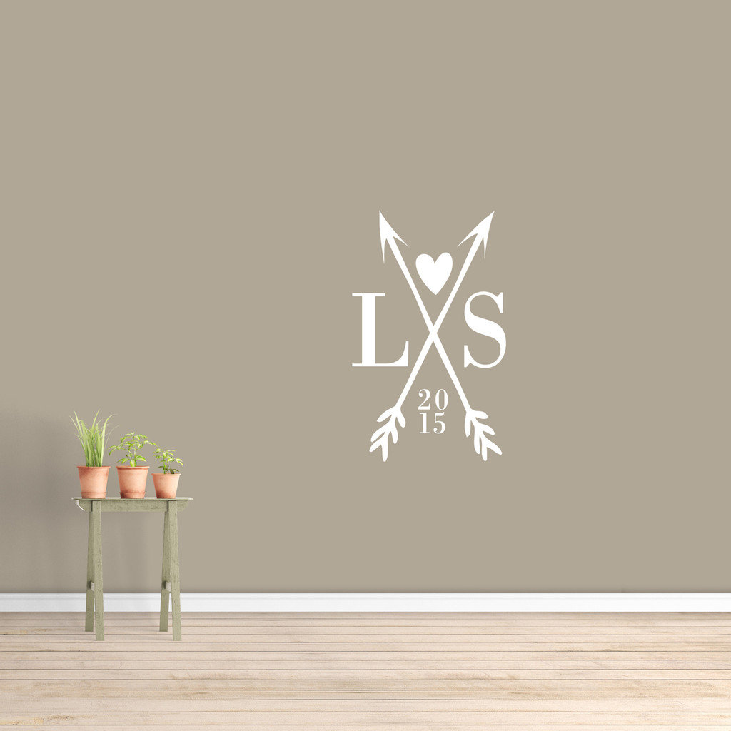 """Custom Crossed Arrows With Initials Wall Decal  22"""" wide x 36"""" tall Sample Image"""