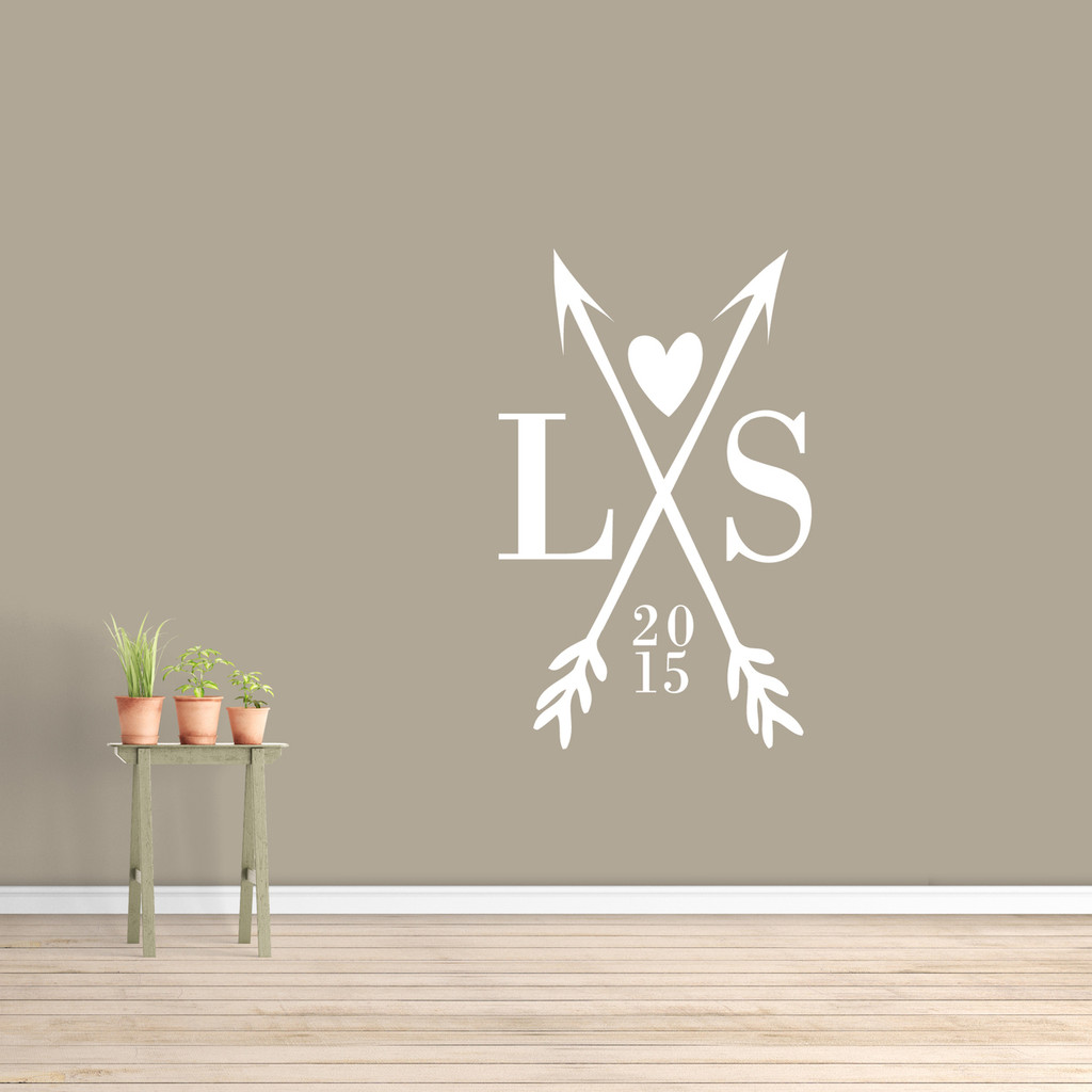 """Custom Crossed Arrows With Initials Wall Decal  30"""" wide x 48"""" tall Sample Image"""