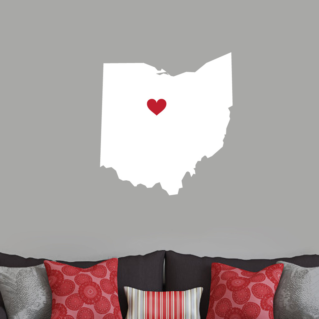Custom State Silhouette With Heart Wall Decals Stickers