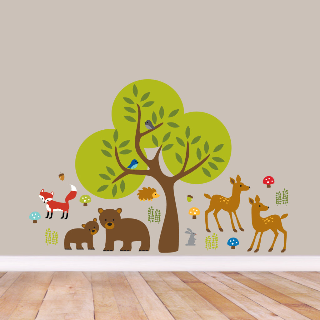 Woodland Forest Printed Wall Decals and stickers