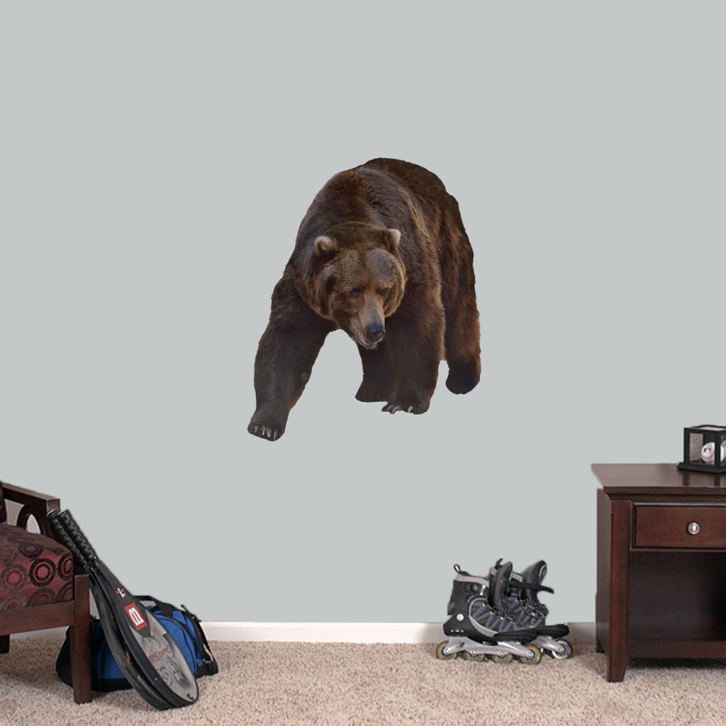 """Real Life Grizzly Bear Printed Wall Decals 28"""" wide x 34"""" tall Sample Image"""