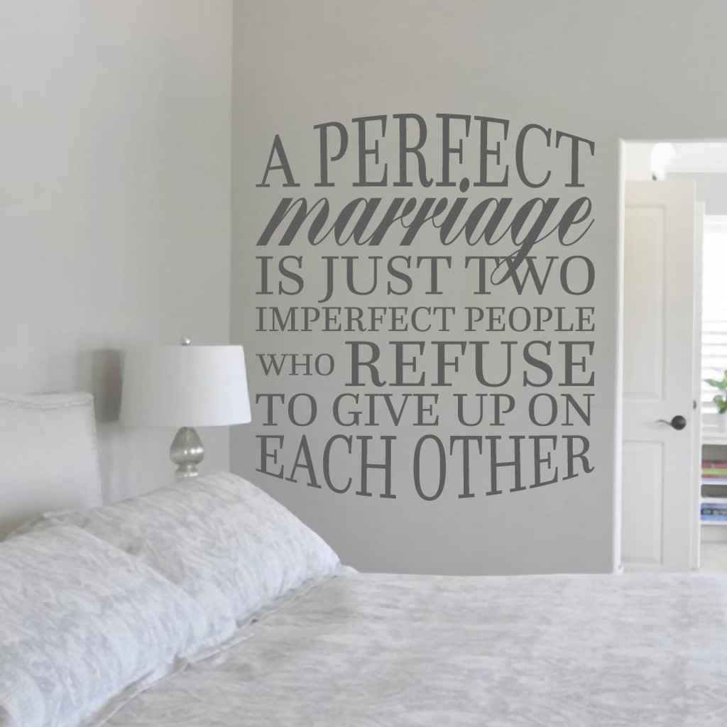 "A Perfect Marriage Wall Decal 42"" wide x 48"" tall Sample Image"