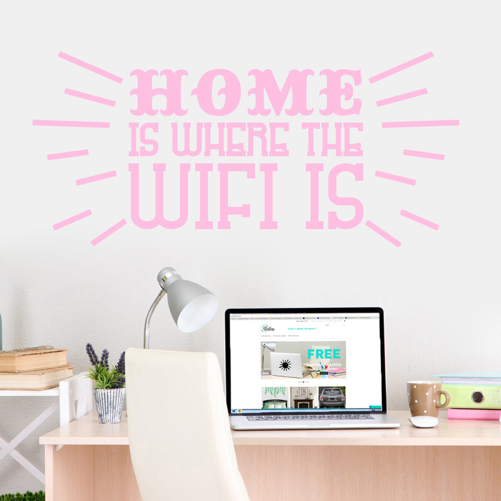 """Home Is Where The Wifi Is Wall Decals 48"""" wide x 22"""" tall Sample Image"""