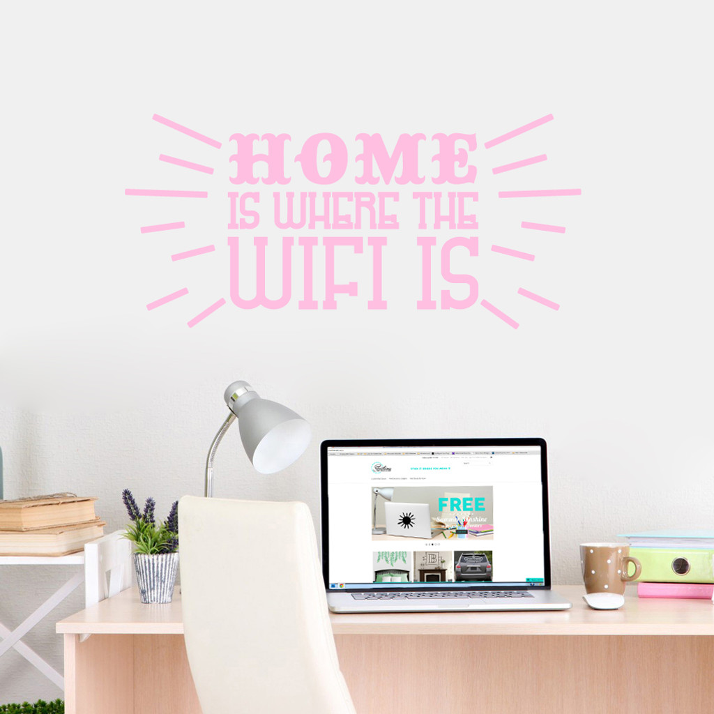 """Home Is Where The Wifi Is Wall Decals 36"""" wide x 17"""" tall Sample Image"""