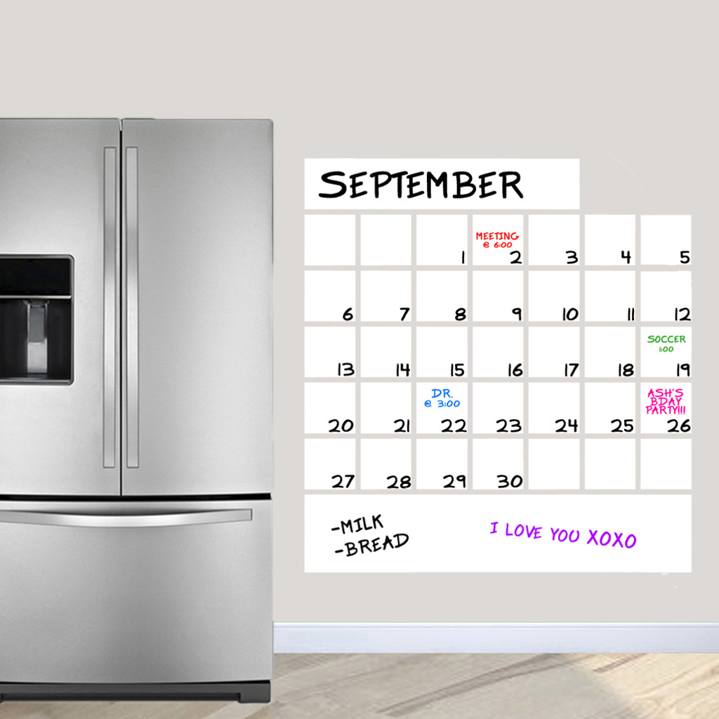 """Dry Erase Calendar Wall Decals 36"""" wide x 38.5"""" tall Sample Image"""
