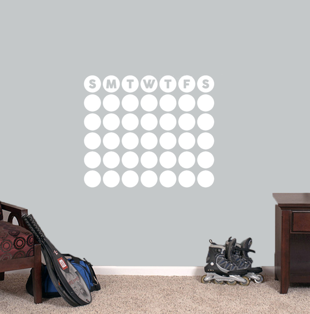 "Dry Erase Circle Calendar Wall Decals 24"" wide x 20.5"" tall Sample Image"