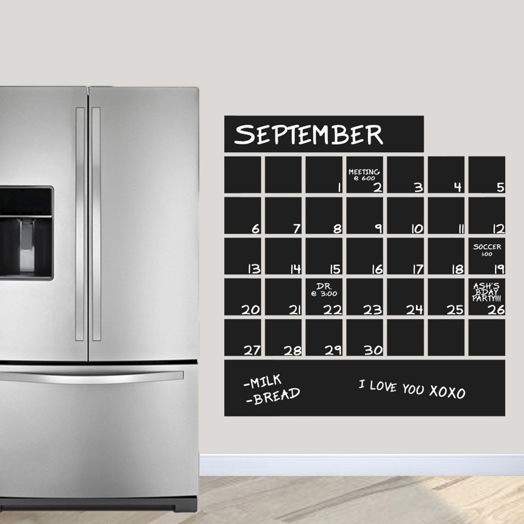 "Chalkboard Calendar Wall Decals 36"" wide x 38.5"" tall Sample Image"