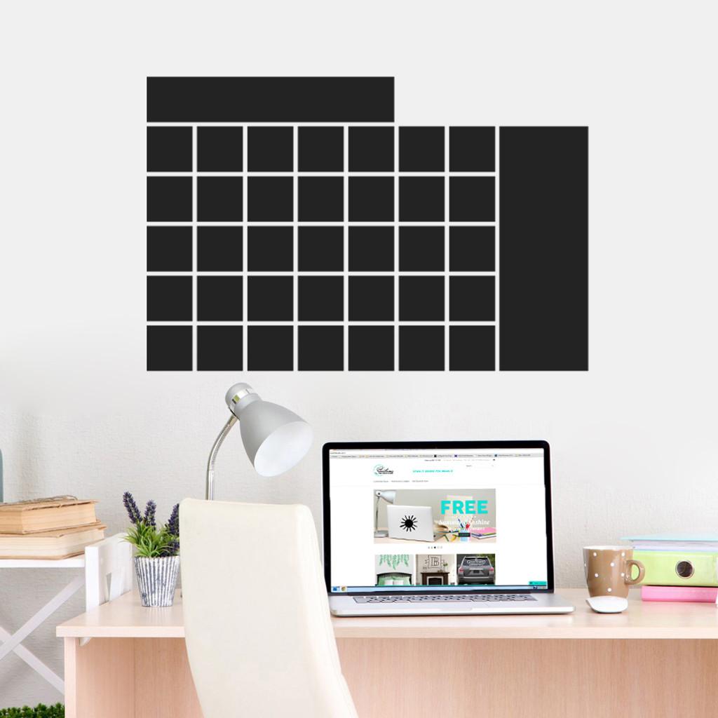 "Chalkboard Calendar Wide Wall Decals 30"" wide x 20"" tall Sample Image"