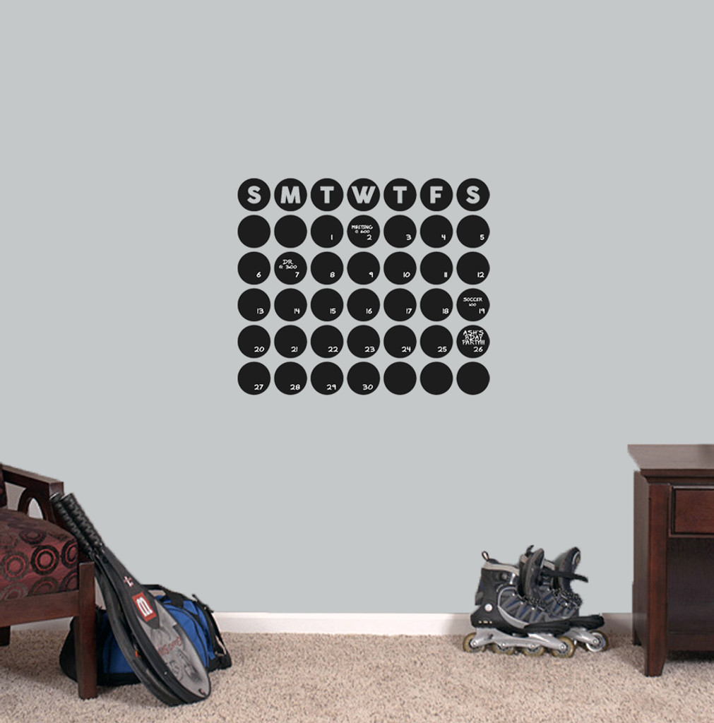 "Chalkboard Circle Calendar Wall Decals 20"" wide x 17"" tall Sample Image"