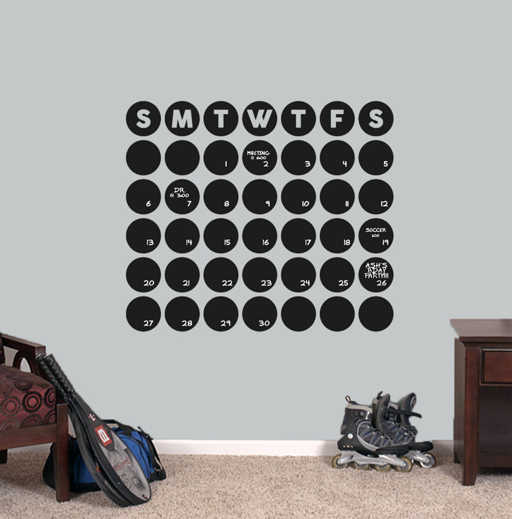 "Chalkboard Circle Calendar Wall Decals 30"" wide x 25.5"" tall Sample Image"
