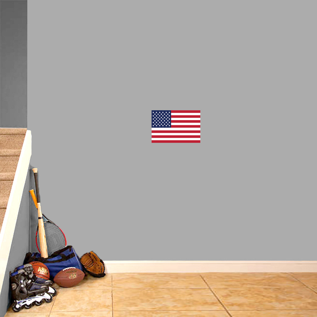 "American Flag Printed Wall Decal 12"" wide x 8"" tall Sample Image"