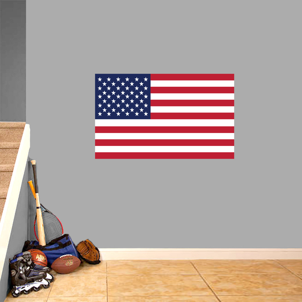 "American Flag Printed Wall Decal 36"" wide x 22"" tall Sample Image"