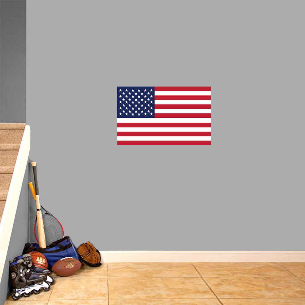 "American Flag Printed Wall Decal 24"" wide x 15"" tall Sample Image"