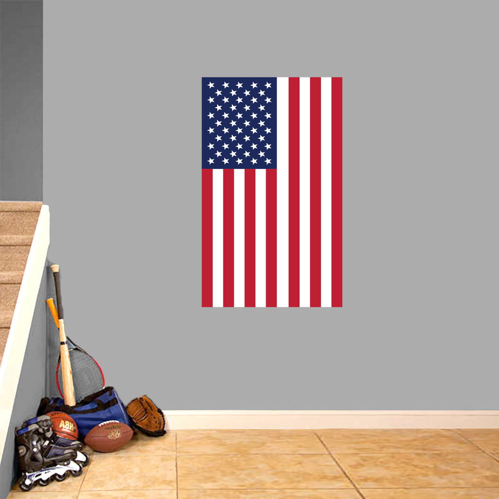 "American Flag Printed Wall Decal 36"" wide x 22"" tall Vertical Sample Image"