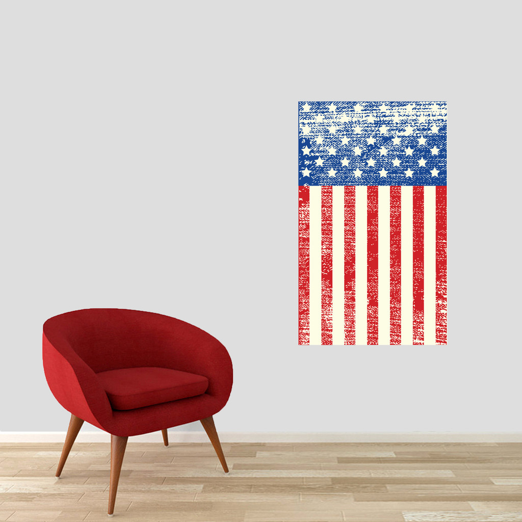"""Rustic American Flag Printed Wall Decal 22"""" wide x 36"""" tall Sample Image"""