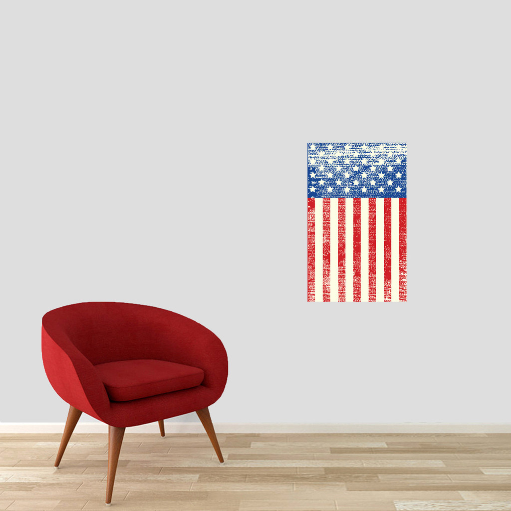 """Rustic American Flag Printed Wall Decal 15"""" wide x 24"""" tall Sample Image"""