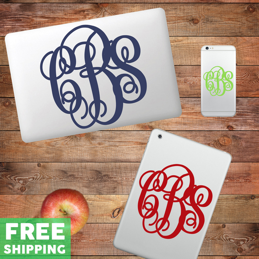 Custom Fancy Monogram Device Decals Water Bottle Stickers