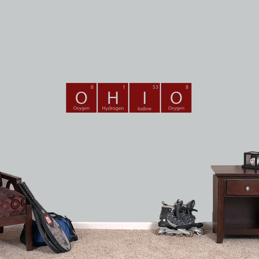 """Ohio Periodic Table - Wall Decal Wall Stickers 36"""" wide x 8.5"""" tall Sample Image"""