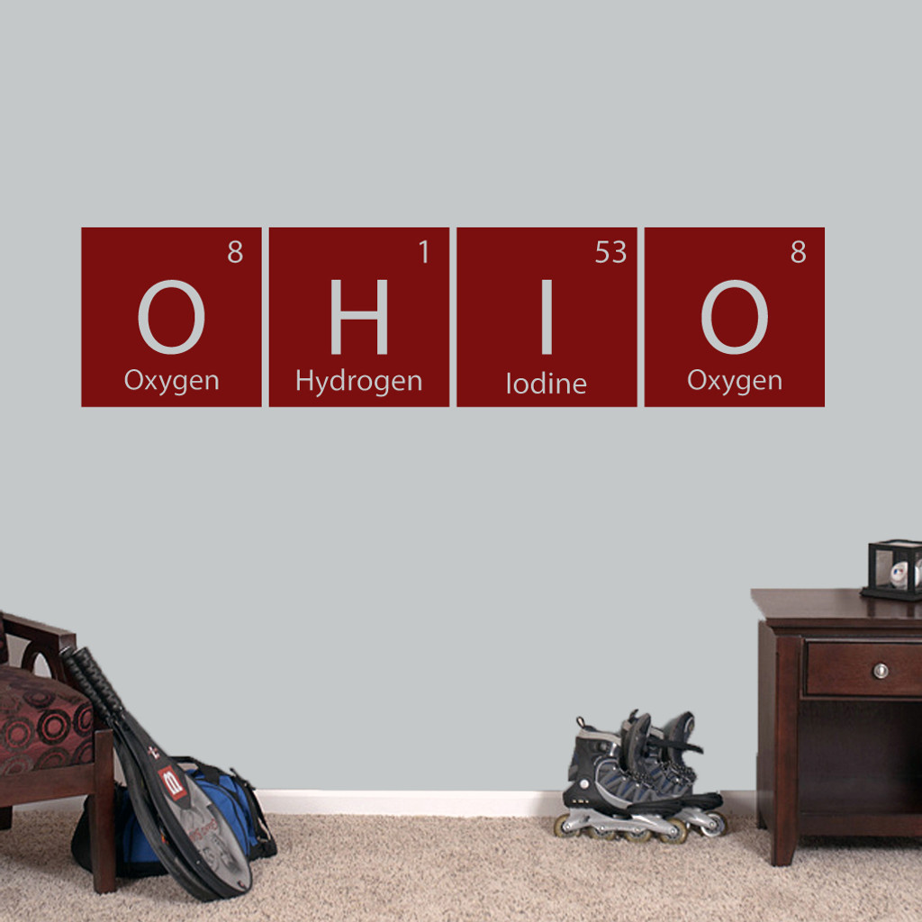 """Ohio Periodic Table - Wall Decal Wall Stickers 60"""" wide x 14.5"""" tall Sample Image"""