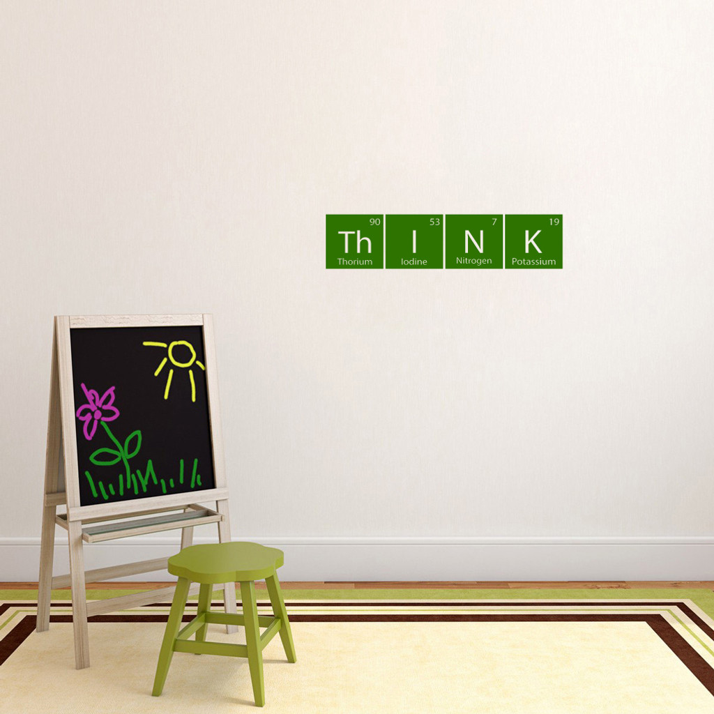 "Think Periodic Table Wall Decal 24"" wide x 5.5"" tall Sample Image"