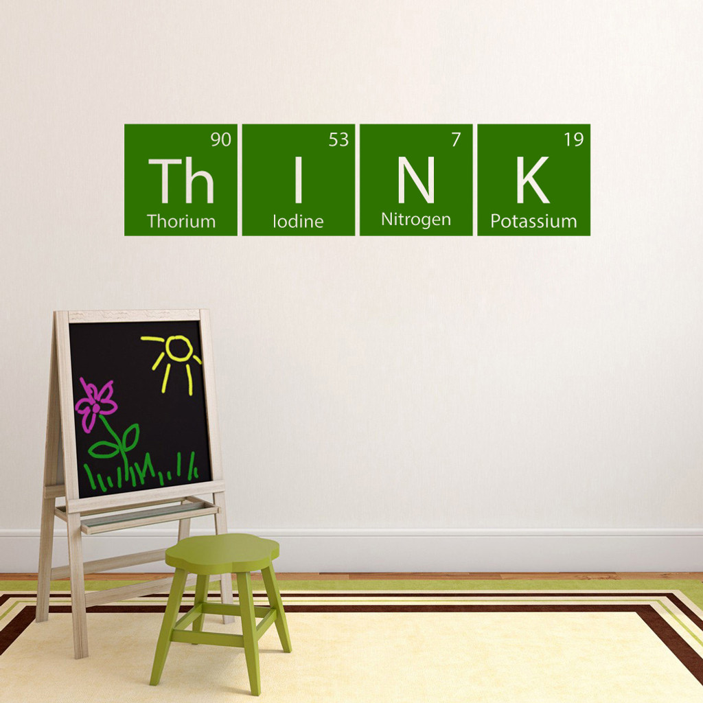 "Think Periodic Table Wall Decal 48"" wide x 11.5"" tall Sample Image"